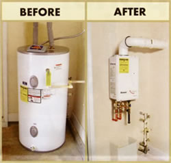 Before and after image of a tankless water heater